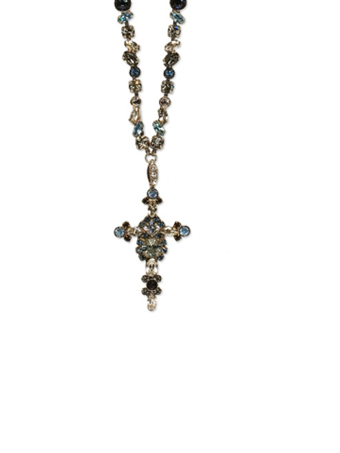 SORRELLI MILKY WAY- BOLD CRYSTAL CROSS NECKLACE~ NBN22ASMLW