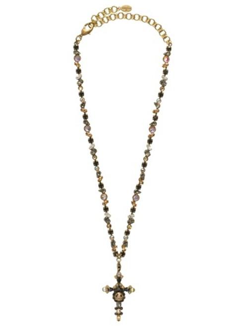 Sorrelli Evening Moon- Bold Crystal Cross Necklace ~ NBN22AGEM