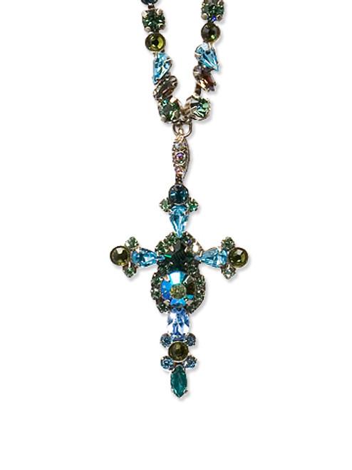Sorrelli Ocean- Bold Crystal Cross Necklace ~ NBN22ASOC