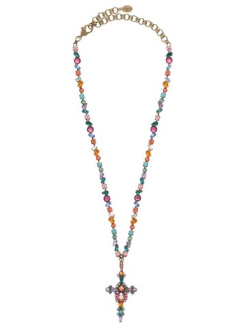 Sorrelli Lollipop- Bold Crystal Cross Necklace ~ NBN22AGLP