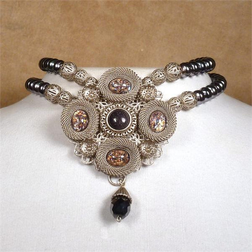SARAH CAVENDER PENDANT WITH STONES and FACETED DROP ON 2 STRANDS OF PEARLS