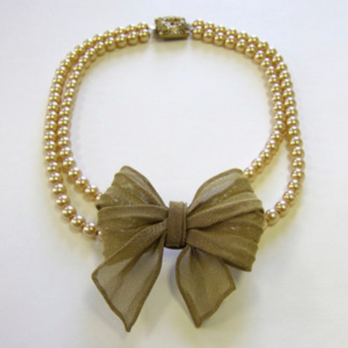 SARAH CAVENDER DOUBLE STRAND PEARL WITH MESH BOW