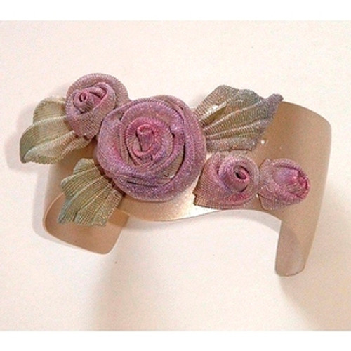 CUFF WITH 3 ROSES and PLEATED LEAVES