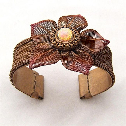 SARAH CAVENDER CUFF WITH DAISY and CENTER STONE