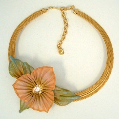 SARAH CAVENDER CAMELLIA ON MESH CHAIN NECKBAND WITH LEAVES and CENTER STONE