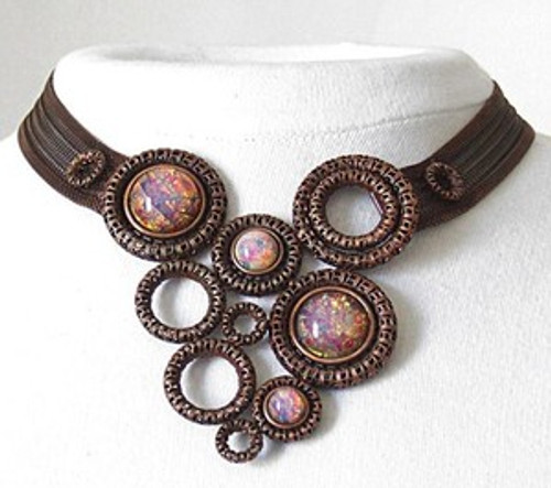 SARAH CAVENDER CURVED NECK BAND WITH FILIGREE RINGS and STONE ACCENTS