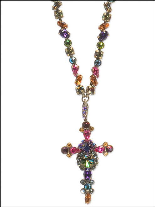 Close Up Sorrelli Volcano-Bold Crystal Cross Necklace ~ NBN22AGVO