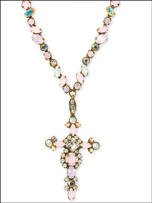 Sorrelli Pretty In Pink Bold Crystal Cross Necklace- NBN22AGPNP