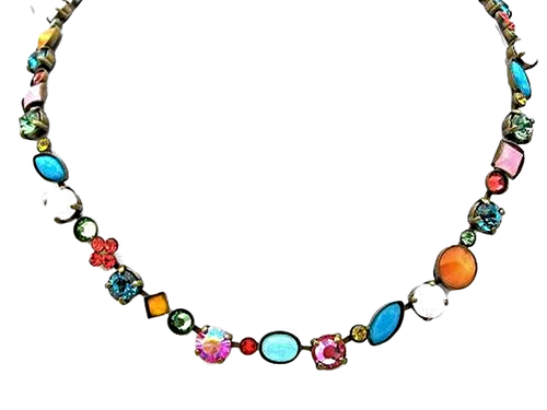 Sorrelli Happy Birthday Classic Tee Shirt Crystal Tennis Necklace~NAQ3AGHB