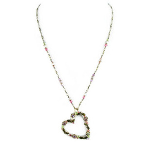 Michal Golan Pearl Blossom Heart Pendant- N1537