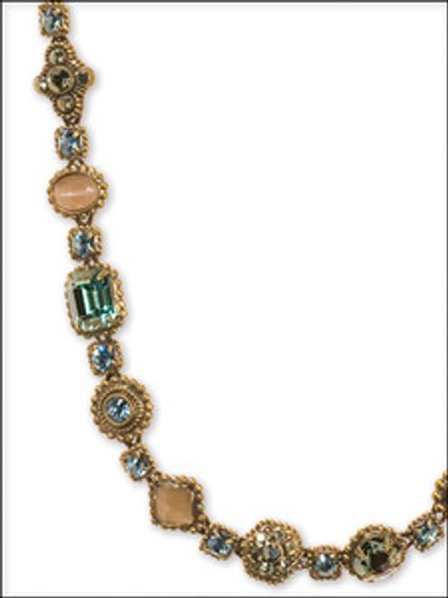 Sorrelli AQUA BUBBLES- Ornamental Crystal and Cabochon Necklace~ NBW18AGAQB