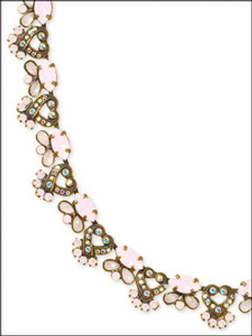 Sorrelli Pretty In Pink Swarovski Crystal Vintage Style Classic Necklace NBU27AGPNP