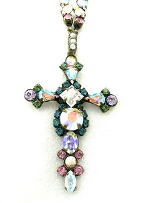 Close Up- Sorrelli Smitten- Bold Crystal Cross Necklace ~ NBN22AGSMI