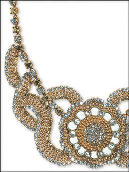 Close Up - Sorrelli AQUA BUBBLES- Ornate Crystal Bib Necklace~ NBW9AGAQB