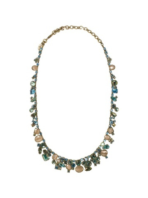 Sorrelli Aqua Bubbles Crystal & Opaque Stone Bold Cluster Necklace