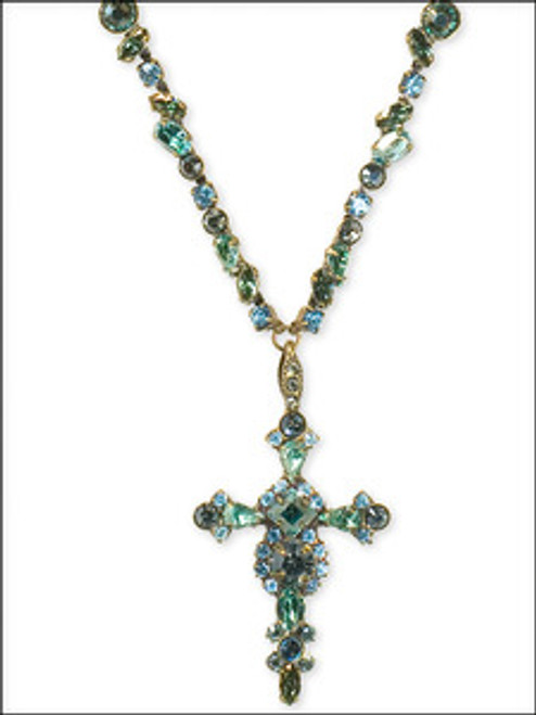 Sorrelli Aqua Bubbles- Bold Crystal Cross Necklace - NBN22AGAQB