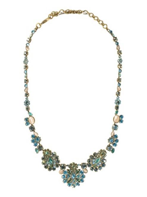 Sorrelli AQUA BUBBLES- Triple Cluster Crystal Necklace~ NBT2AGAQB