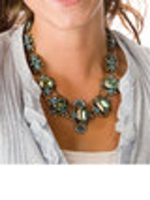 Sorrelli AQUA BUBBLES- Swarovski Crystal Statement Necklace~ NBW4AGAQB