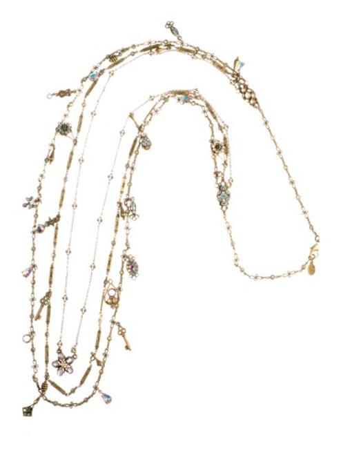 Sorrelli Smitten Crystal & Semi-Precious 3-Strand Charm Long Necklace