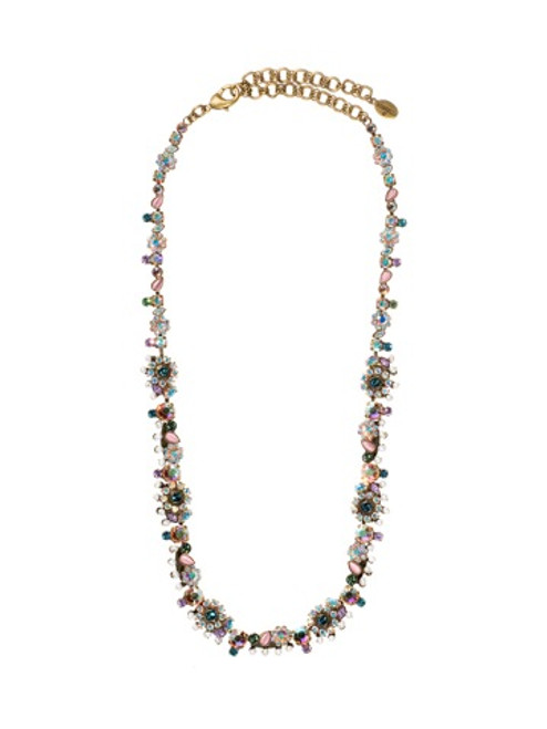 Sorrelli Smitten Crystal Flower Necklace with Pearl Accents NBT11AGSMI