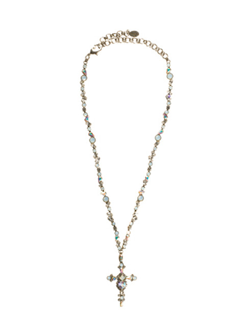 Sorrelli White Bridal - Bold Crystal Cross Necklace~ NBN22ASWBR