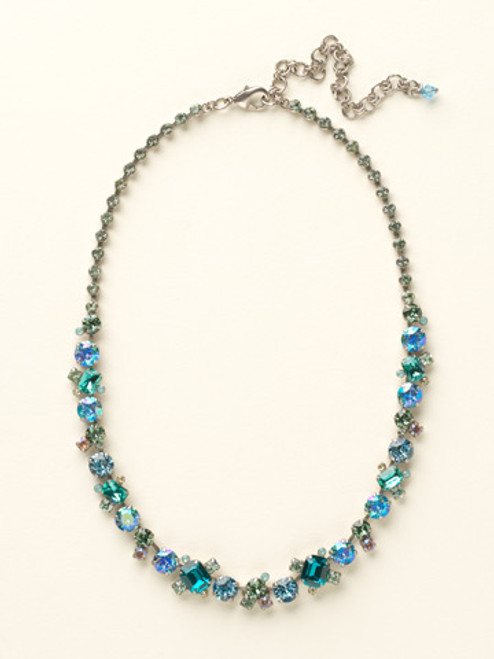 Sorrelli Sea Glass- Glittering Multi-Cut Crystal Necklace~ NCF6ASSGL