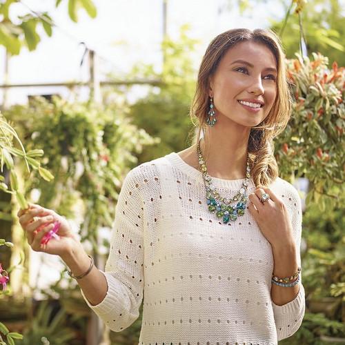 Model wearing- Sorrelli Sea Glass -Crystal Pear Tiered French Wire Earrings~ ECY41ASSGL