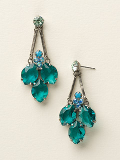 Sorrelli Sea Glass- Floral Crystal Cluster Post Earrings~ECY2ASSGL
