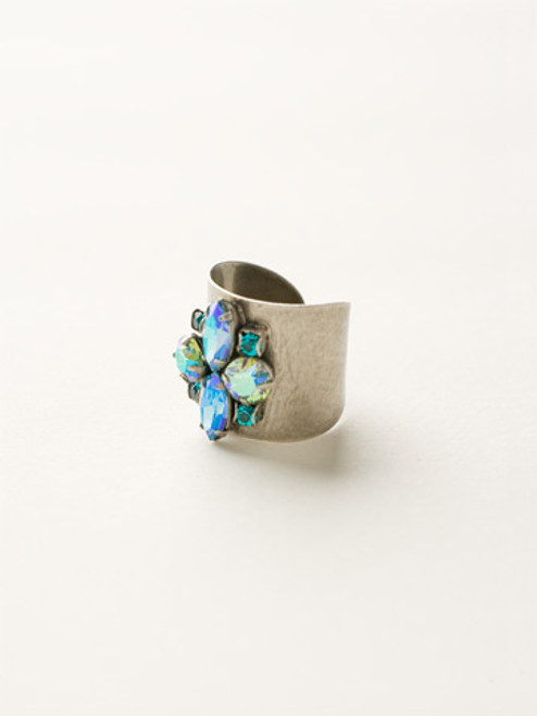 Sorrelli Sea Glass- Flower Navette Cuff Ring~ RCW49ASSGL
