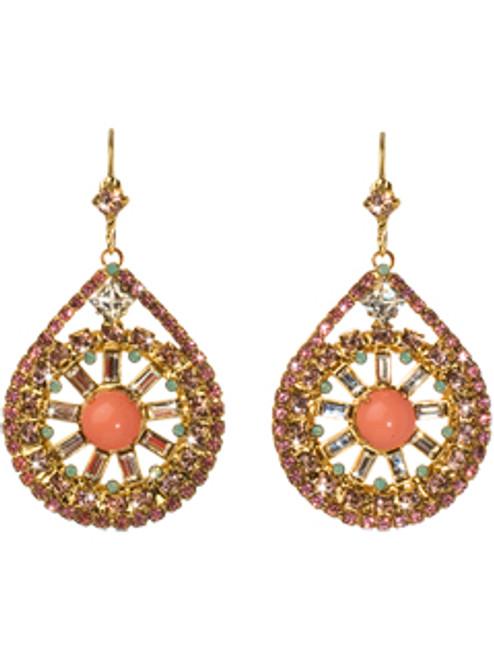 Sorrelli Coral Reef- Glam Crystal Baguette Teardrop Earrings~ ECF57BGCOR