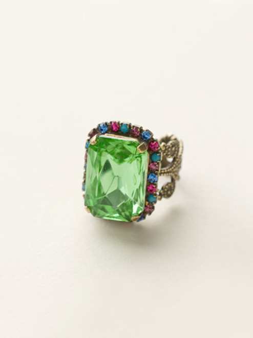 Sorrelli Southwest Brights - Petite Emerald Cut Cocktail Ring~ RCF9AGSWB