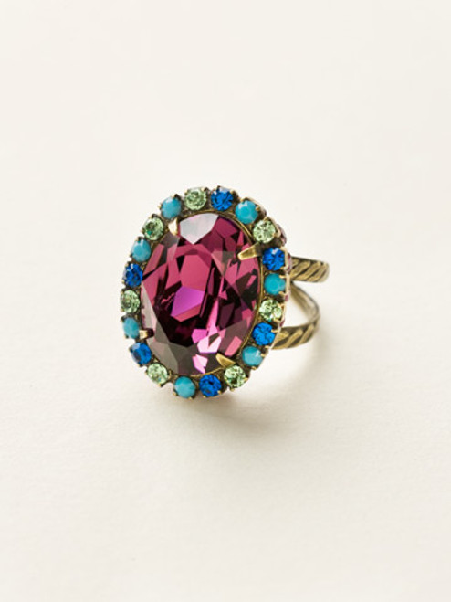 Sorrelli Southwest Brights- Glamorous Oval Cut Cocktail Ring~ RBT68AGSWB