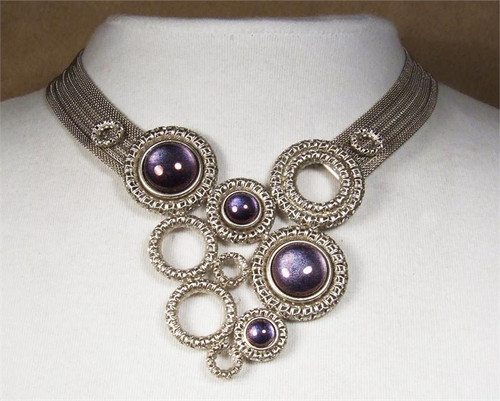 SARAH CAVENDER CURVED NECK BAND WITH FILIGREE RINGS and STONE ACCENTS 19102S
