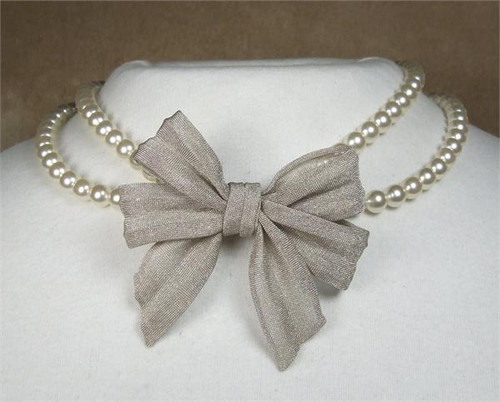 SARAH CAVENDER DOUBLE STRAND PEARL WITH MESH BOW 11105S