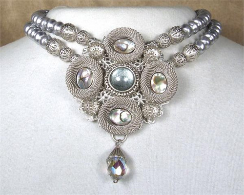 SARAH CAVENDER PENDANT WITH STONES and FACETED DROP ON 2 STRANDS OF PEARLS 1813S