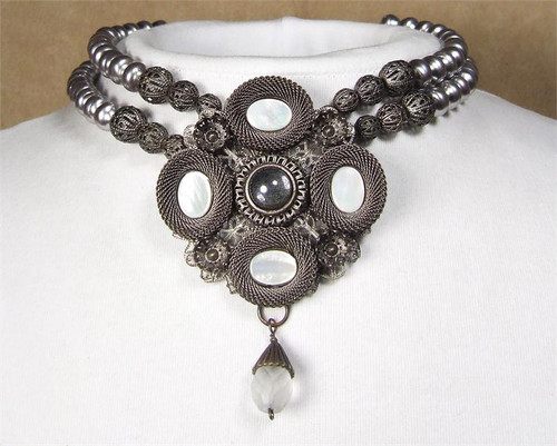 SARAH CAVENDER PENDANT WITH STONES and FACETED DROP ON 2-STRANDS OF PEARLS 18131C