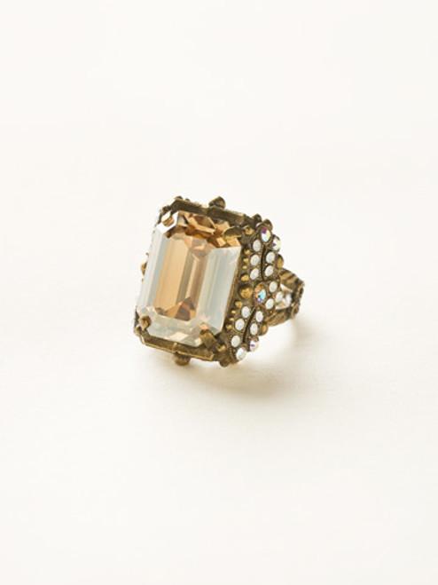 Sorrelli Amaretto- Snowflake Crystal Cocktail Ring~ RCK2AGAMA