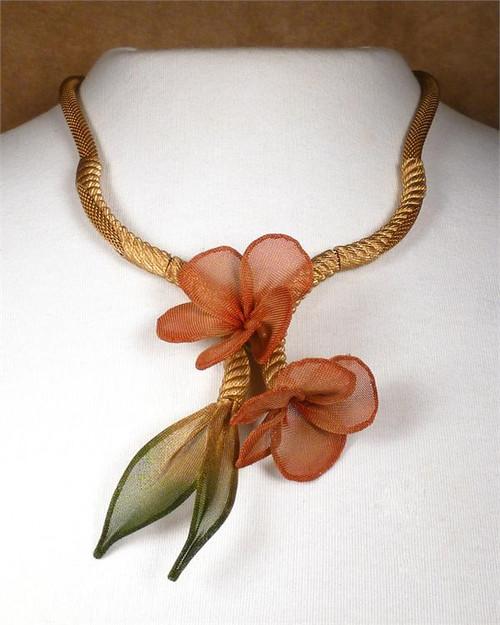 Sarah Cavender Gold With Ember Floral Necklace
