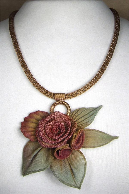 SARAH CAVENDER WIDE MESH NECKBAND WITH WIDE MULTI-FLOWERS and LEAVES