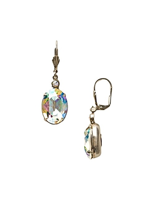 Sorrelli Crystal Aurora Borealis~ Large Oval Crystal French Wire Earrings~ ECY58ASCAB