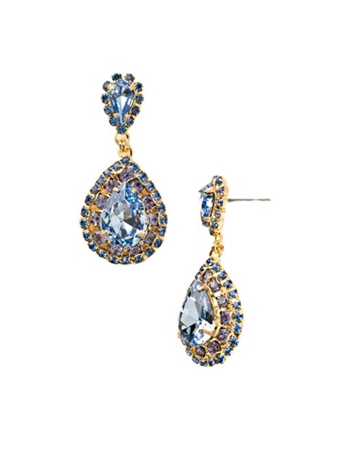 SWEET SAPPHIRE OVAL ENCRUSTED CRYSTAL EARRINGS BY SORRELLI~ECW47BGSS