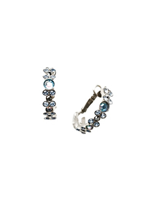 Sorrelli Ice Blue- Floral Hoop Hoop Earrings~ EBP15ASIB