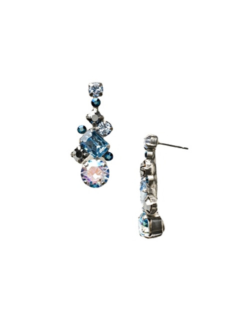Sorrelli Ice Blue- Glittering Multi-Cut Crystal Earrings~ ECF6ASIB