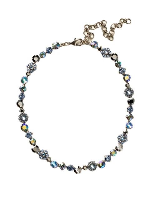 Sorrelli Ice Blue- Classic Floral Tennis Necklace~ NBE2ASIB