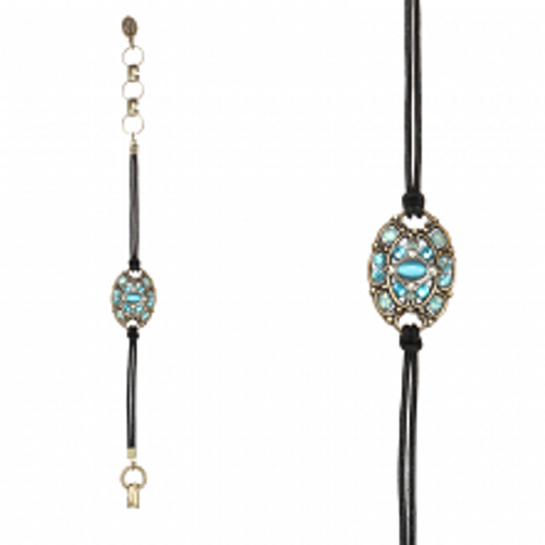Michal Golan Atlantis Collection - Oval Bracelet on Leather Cord~ SB496