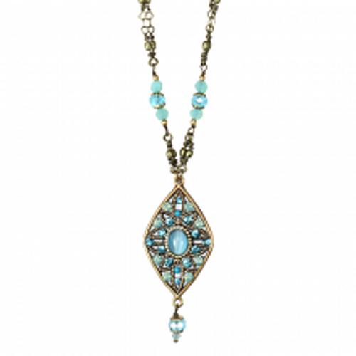 Michal Golan Atlantis Collection - Diamond Pendant with Bead Dangle Necklace ~ N3395