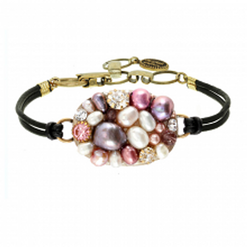Michal Golan Constellation Collection - Oval Bracelet on Black Leather Cord ~ SB563