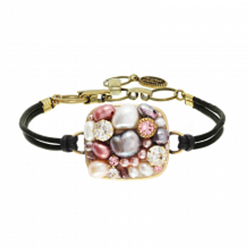 Michal Golan Constellation Collection - Square Bracelet on Black Leather Cord ~ SB564