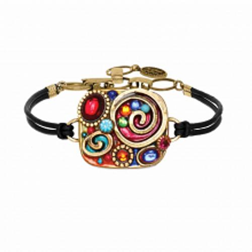 Michal Golan Confetti Collection Square Pendant Bracelet on Leather Strap SB426