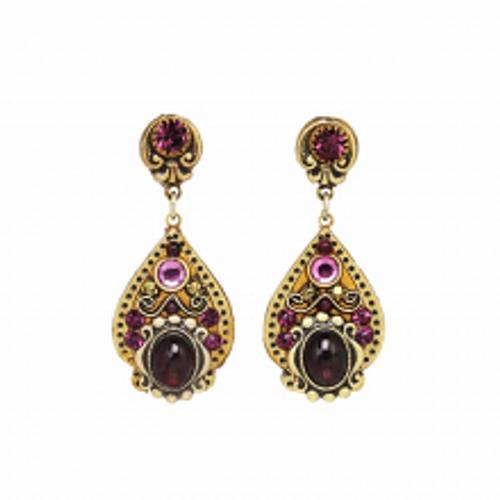 Michal Golan Garnet Collection - Teardrop Dangle Post Earrings ~ S7975